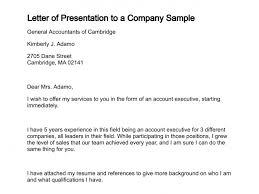 presentation letter letter of presentation