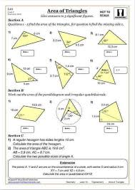 Area And Perimeter Of A Triangle Worksheet Area Of Triangles Maths Worksheet Cazoom Maths Worksheets