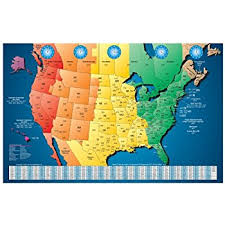map of usa time zones america laminated gloss color time zone