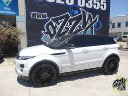 land rover evoque black and white range rover evoque with kmc km677 gloss black wheels kmc wheels