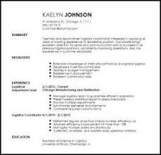 sample logistics coordinator resume sample resume logistics