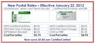 certified mail envelopes new postage rates 2012