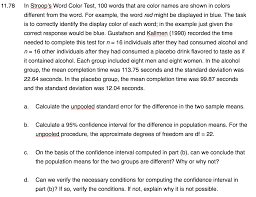 color difference test solved 1 1 78 in stroop s word color test 100 words tha