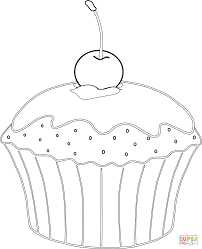 muffin with cherry coloring page free printable coloring pages