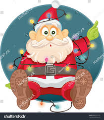 funny santa tangled christmas lights vector stock vector 503591710