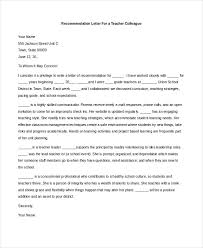 letter of recommendation sample for teacher colleague