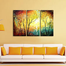 3 panel set wall painting yellow tree painting