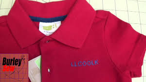 how to hoop and embroider names on a small polo shirt youtube