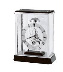 Crystal Mantel Clocks Bulova Traditional Chiming Mantel Clock Ebony And Chrome Case