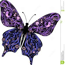 butterfly with a pattern from lines and flowers a moth with