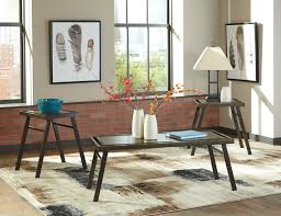 Ashley Furniture Kitchen Table Sets Ashley Furniture Farna 3 Pc Bronze Finish Coffee Table Set With