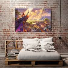 thomas kinkade modern home decor oil painting simba lion king