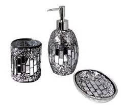 pcs handcrafted beaded crackle glass luxury bathroom accessory set