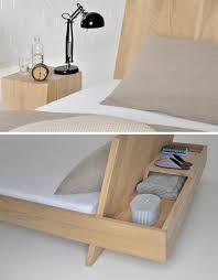 nifty built in nightstand hides behind the bed u0027s headboard