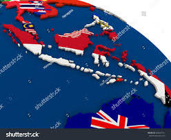 Map Of Countries Map Indonesia On Globe Embedded Flags Stock Illustration 426647161