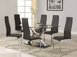 Contemporary Upholstered Dining Room Chairs Coaster Modern Dining 7 Piece White Table U0026 Black Upholstered