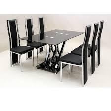 Glass Dining Table For 6 Dining Table Black Glass Dining Table And 6 Chairs Cheap Seater