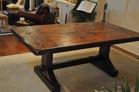 Distressed Dining Room Table by Dining Tables Farmhouse Table With Bench Rustic Metal And Wood