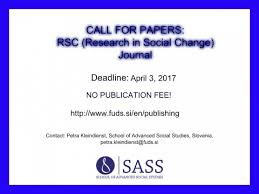 si e social but call for papers rsc research in social change journal