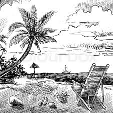 summer beach sketch background with palm chair coconut and yacht