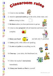 printable instructions classroom 34 free esl classroom rules worksheets