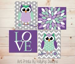 Owl Decor Owl Nursery Art Owl Decor Modern Nursery Art Quad Purple Mint