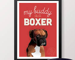 boxer dog wall art boxer dog art print etsy