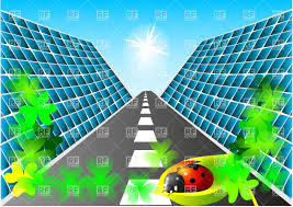 solar panels clipart solar cells the road and the ladybug vector clipart image 25473