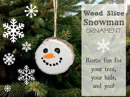 wood slice snowman ornament the creek line house