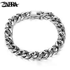 bracelet link silver sterling images Zabra authentic 925 sterling silver 8mm skull bracelet link chain jpg