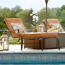 Patio Furniture Cushions Home Depot - hampton bay oak heights patio chaise lounge with cashew cushions