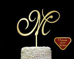 gold letter cake topper initial cake topper etsy