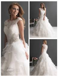 cap sleeves ruffled layered ball gown wedding dresses with ruched