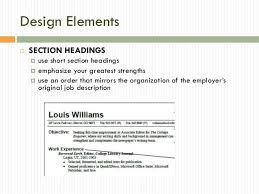 Resume Section Headings Resume Powerpoint