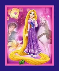 cotton fabric large panel disney princess rapunzel maximus