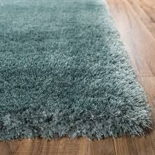 Modern Area Rugs Shimmer Shag Blue Solid Plain Modern Luster Ultra Thick Soft