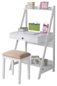 Small Kid Desk 2 White Big Drawer Storage Shelf Student Writing Desk Set