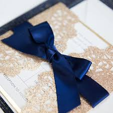 navy blue wedding invitations gold and navy blue glitter wedding invitations with