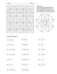 solving single step equations color worksheet clasa 6
