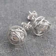 wire earrings wire wrapped june birthstone pearl silver stud earrings by otis