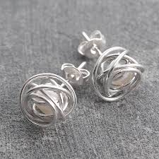 vire earrings wire wrapped june birthstone pearl silver stud earrings by otis