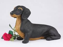 dog cremation dachshund shorthair black dog cremation urn figurine