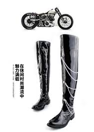 mens black leather riding boots aliexpress com buy mens black leather chain over the knee punk
