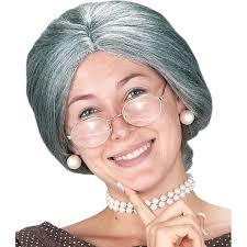 halloween grandma costume amazon com wig granny grey clothing