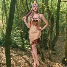 Womens Pocahontas Halloween Costumes Halloween Carnival Party Cosplay Costume Dress Lady Dress