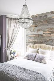 bedroom with chandelier modern bedroom with reclaimed wood accent wall and chandelier