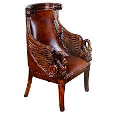 Swan Chair Leather Chair Leather Swan Arm Chair Niagara Furniture Genuine Antique