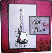 handmade guitar card rock on
