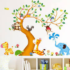 Removable Wall Decals For Nursery Oversize Jungle Animals Tree Monkey Owl Removable Wall Decal