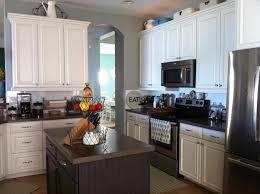 Grey Kitchen Floor Ideas Stained Light Grey Painted Kitchen Cabinets Lower Cabinets Painted